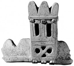 Excavators at Hattusa found this five-inch-high, 15th-century B.C. ceramic fragment that may depict the cyclopean walls and defensive towers that surrounded the acropolis. Hirmer Fotoarchiv Muenchen