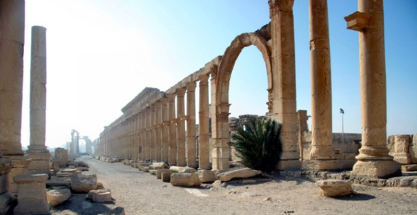 A massive avenue in Palmyra, Syria
